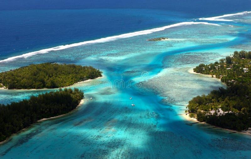 Bora Bora Tahiti Island von der Luft lizenzfreies stockbild