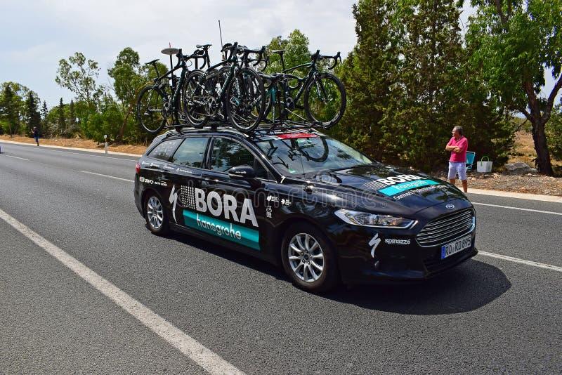 Bora Hansgrohe Team Car La Vuelta España royaltyfria bilder