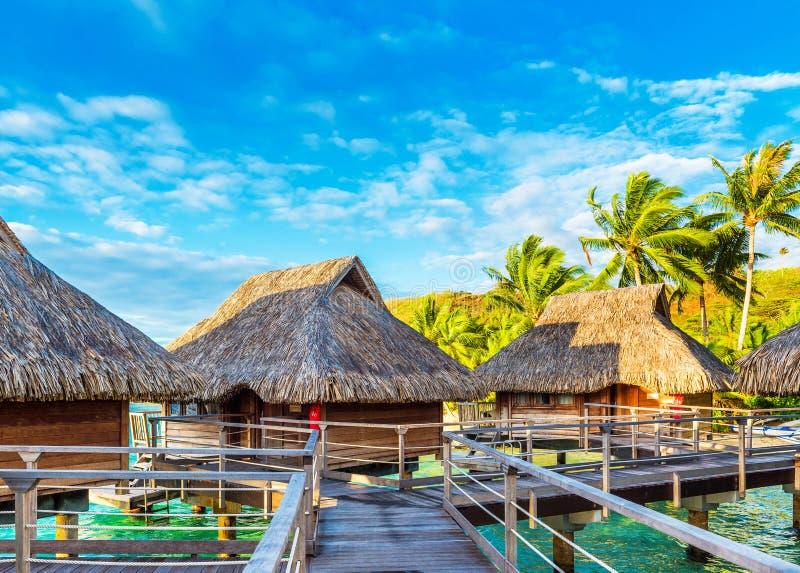 BORA BORA, POLINESIA FRANCESE - 19 SETTEMBRE 2018: Vista del bungalow sulla spiaggia sabbiosa fotografie stock libere da diritti