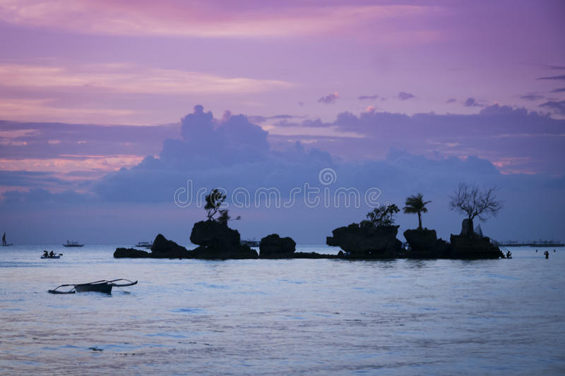 Boracay beach sunset island philippines stock image