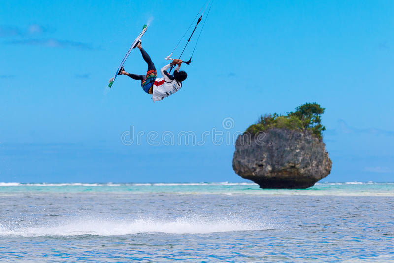 The Boracay internanional funboard cup 28-31 January, 2015. Boracay, Philippines. Freestyle category. Young kitesurfer on. Tropical sea background. Extreme stock photography