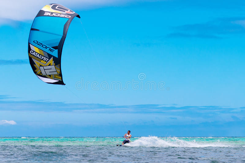 The Boracay internanional funboard cup 28-31 January, 2015. Boracay, Philippines. Freestyle category. Young kitesurfer on. Tropical sea background. Extreme stock photo