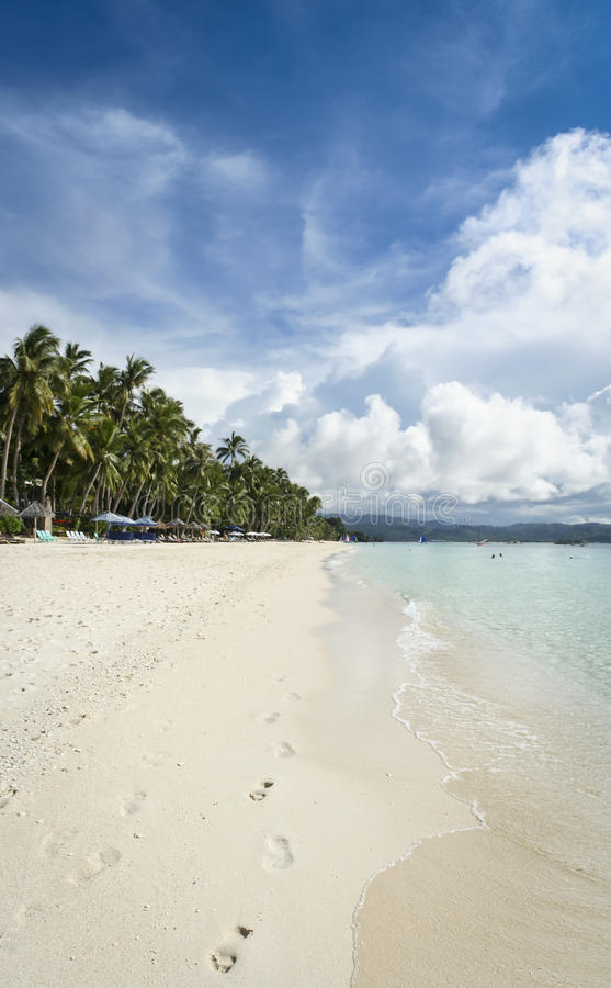 Boracay island white beach background philippines stock photo