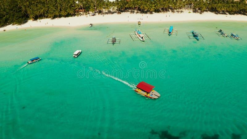 Boracay island with white sandy beach, Philippines royalty free stock photos