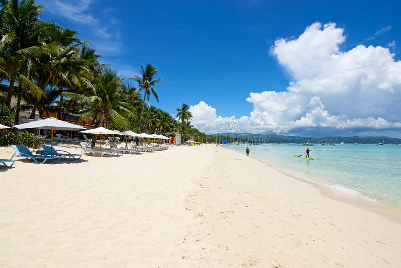 Boracay, Philippinen Weißer Strand lizenzfreies stockbild
