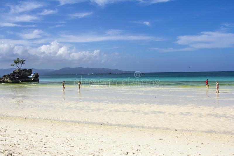 Boracay Philippines island sea, beach, water, ocean, coast, blue, sky, landscape, summer, nature, island, travel, tropical, rock, royalty free stock photos