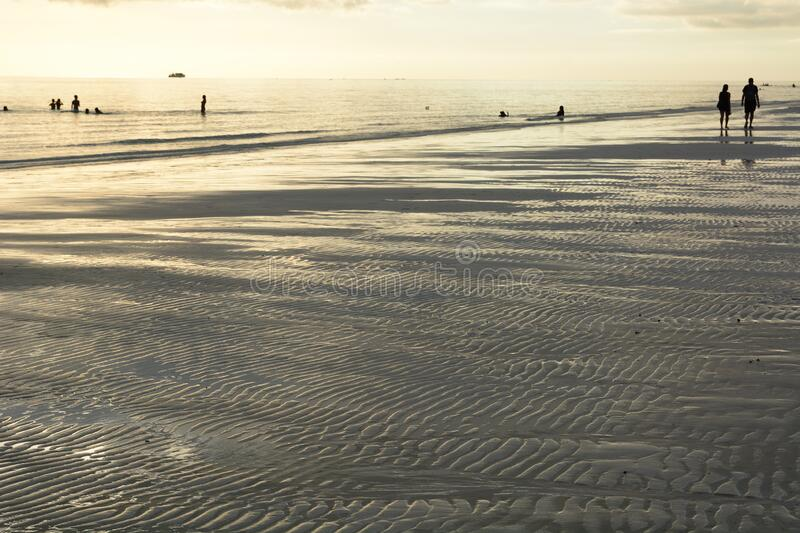 Walking on the shore with low tide. White Beach. Boracay island. Western Visayas. Philippines royalty free stock photos