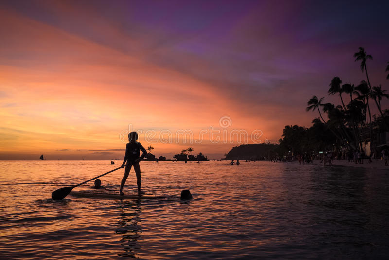 Boracay strandsolnedgång royaltyfri foto