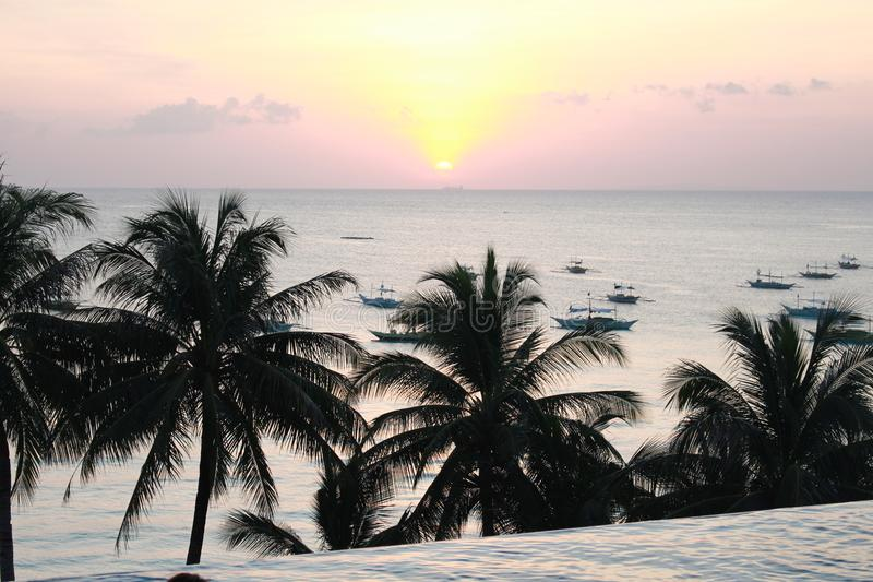 Boracay Sunset View at Infinity Pool stock image