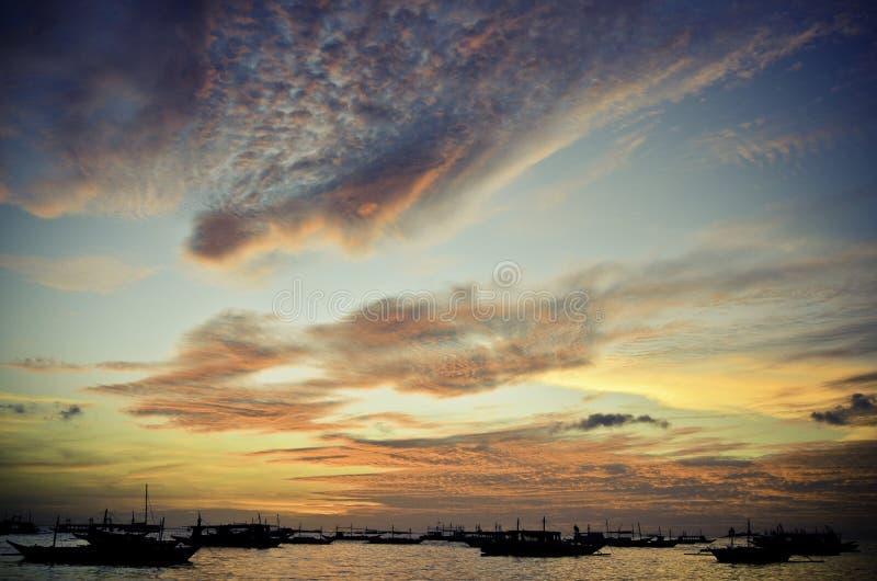 boracay wyspa Philippines relaksuje zmierzch obrazy stock