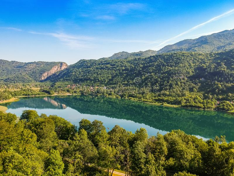 Boracko jezero is glacial lake is situated in Konjic Municipality, Bosnia and Herzegovina.  royalty free stock image