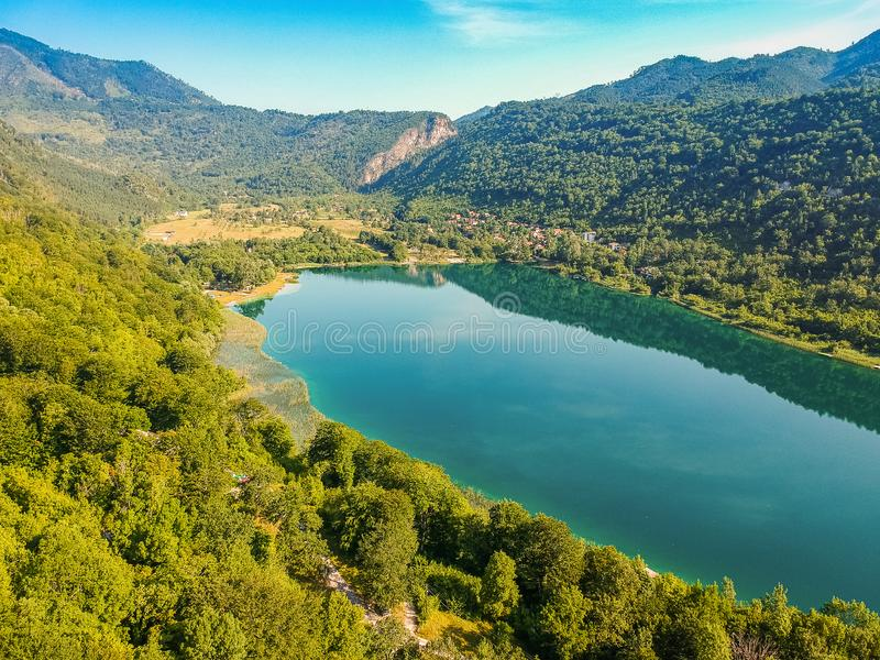 Boracko jezero is glacial lake is situated in Konjic Municipality, Bosnia and Herzegovina.  royalty free stock photo