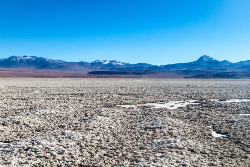 Salar de Chalviri salt flat in Bolivia. Borax is being mined from Salar de Chalviri salt flat in Bolivia royalty free stock photo