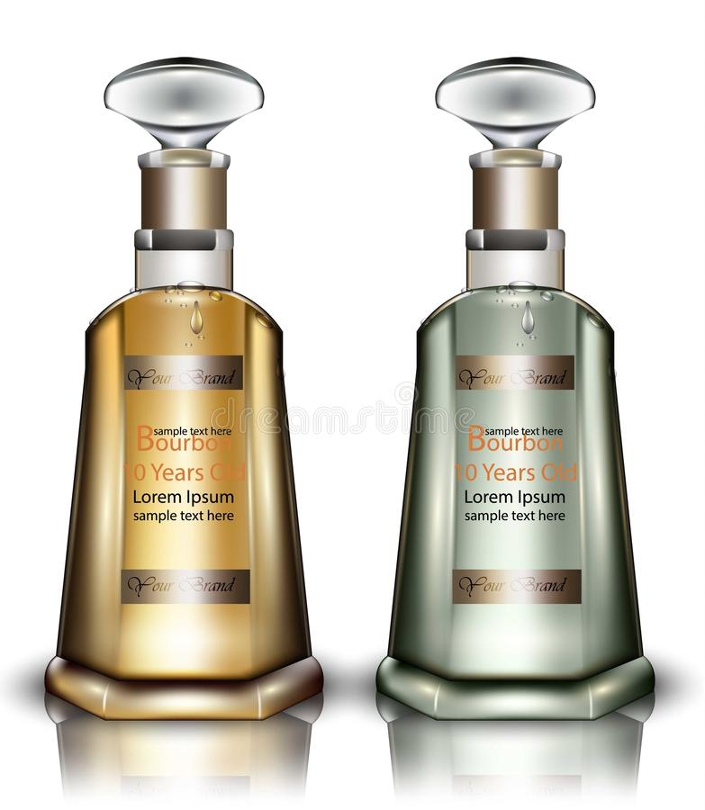 Borbón embotella el vector realista Mofa de empaquetado del producto para arriba Vieja bebida de alta calidad libre illustration