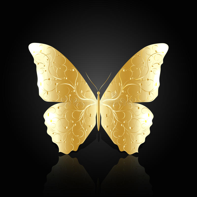Borboleta abstrata do ouro no fundo preto foto de stock royalty free