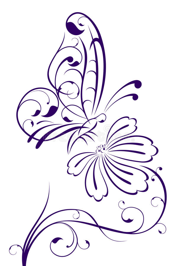 Borboleta abstrata na flor ilustração stock