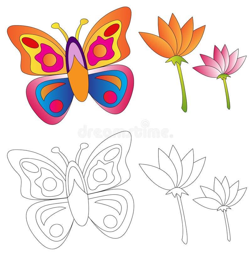 Borboleta & flores/livro de coloração ilustração do vetor