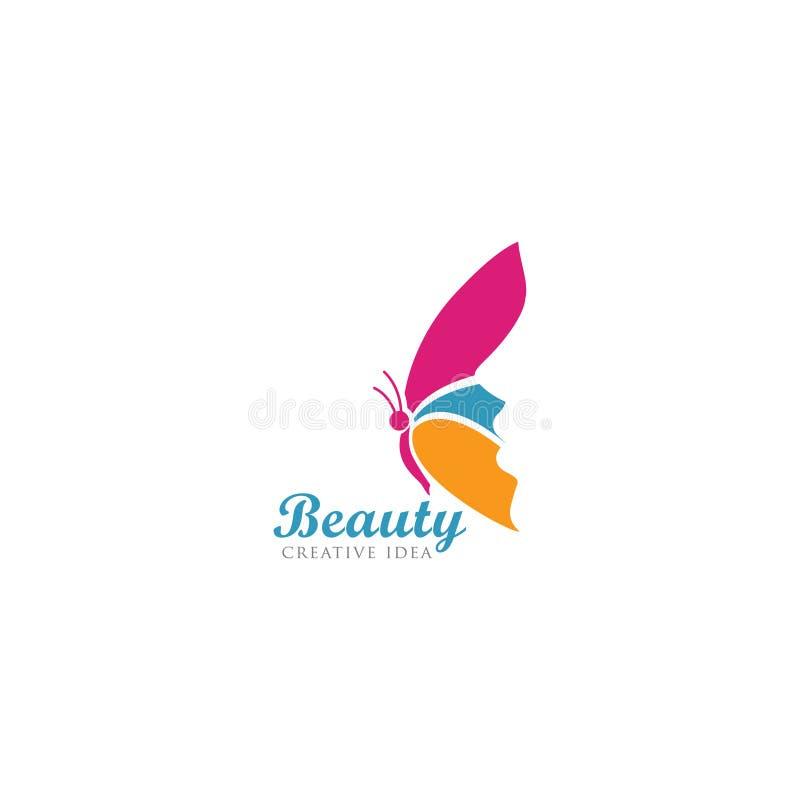 Borboleta bonita com molde do logotipo da cara das mulheres ilustração do vetor