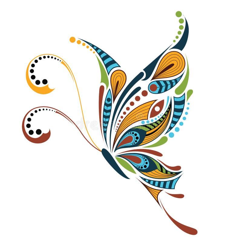 Borboleta colorida modelada Projeto africano/indiano/totem/tatuagem ilustração royalty free