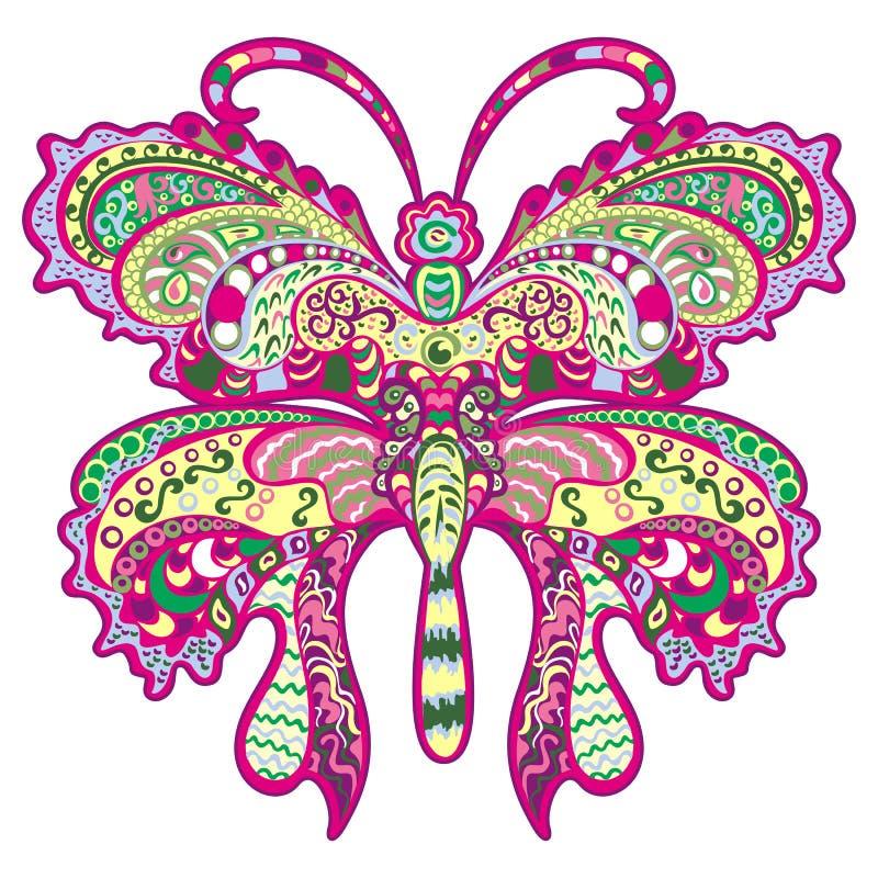 Borboleta colorida, ornamento decorativo. ilustração do vetor