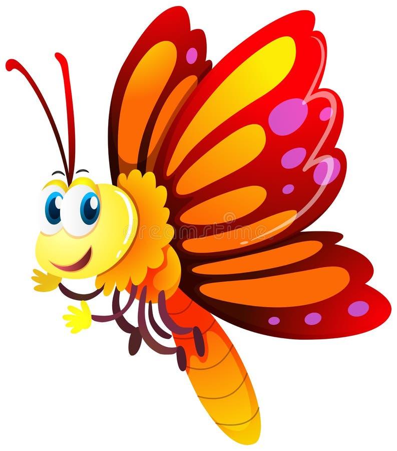 Borboleta com as asas vermelhas e amarelas ilustração stock