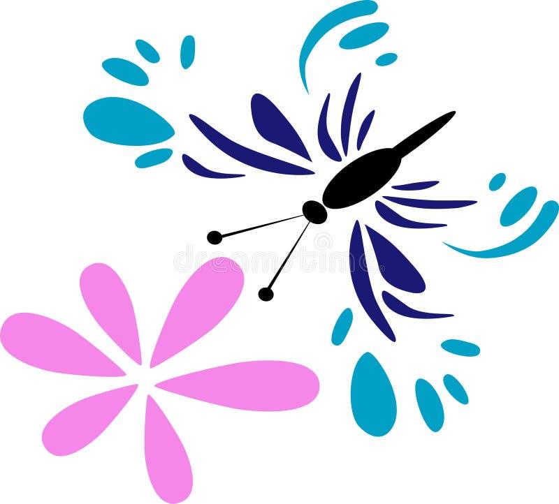 Borboleta com flor ilustração do vetor