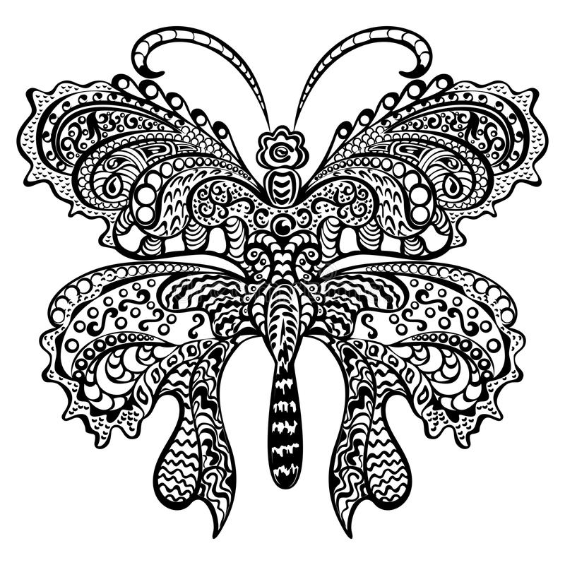 Borboleta com o ornamento decorativo de roda. ilustração stock