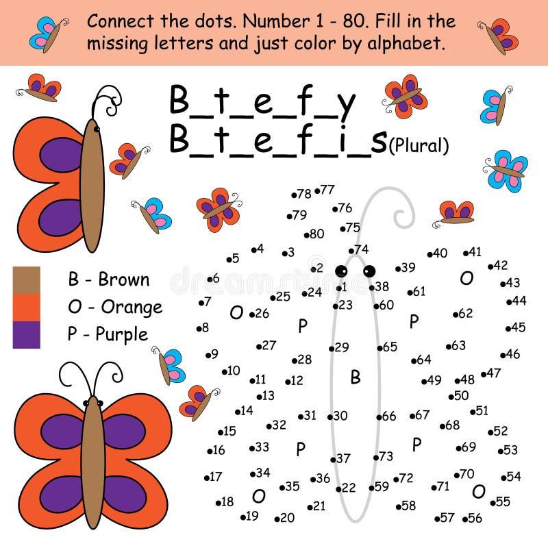 A borboleta conecta a coloração do ponto ilustração royalty free