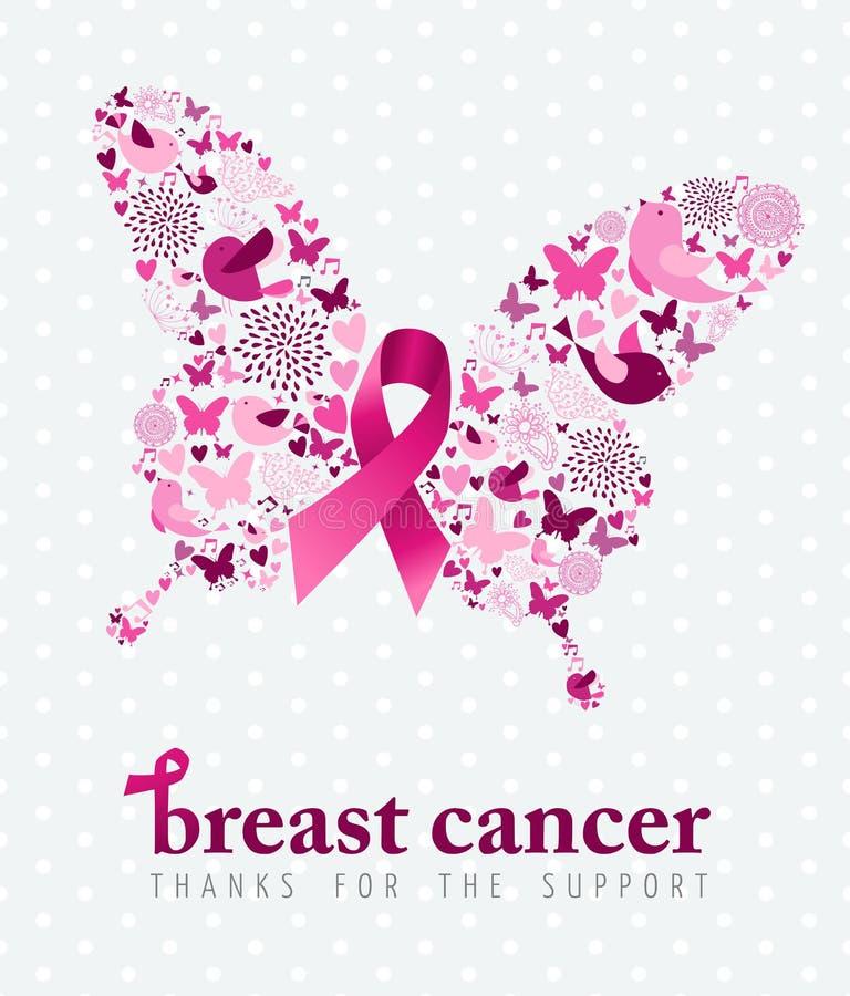 Borboleta da fita do rosa do cartaz do apoio do câncer da mama ilustração stock