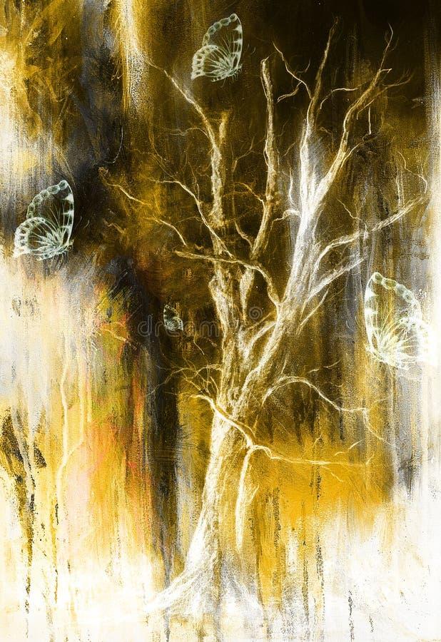 Borboleta da pintura e árvore, colagem da cor e abstraia o fundo com pontos, colagem do grunge do computador ilustração royalty free