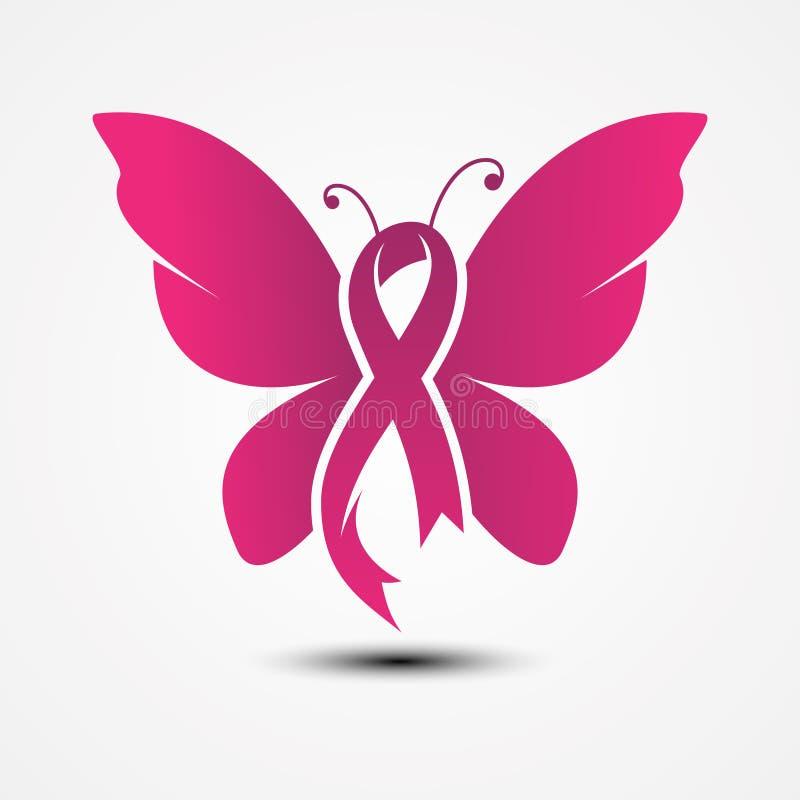 Borboleta dada forma fita no estilo liso com rosa da cor ilustração royalty free
