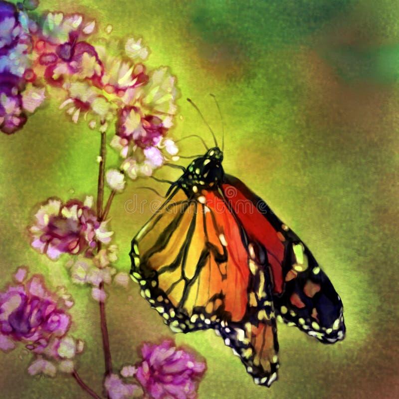 Borboleta de monarca - pintura da aguarela ilustração do vetor