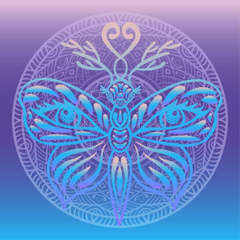 Borboleta de néon da fantasia estilizado com chifres dos cervos e os olhos humanos em seu fundo redondo do inclinação da mandala  ilustração do vetor