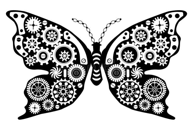 Borboleta de Steampunk Inseto fantástico no estilo do vintage para a tatuagem, a etiqueta, a cópia e as decorações ilustração royalty free