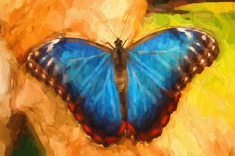 Borboleta do azul da pintura a óleo imagens de stock