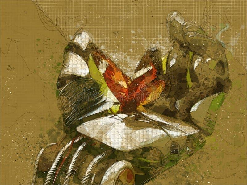 borboleta do braço do robô ilustração stock