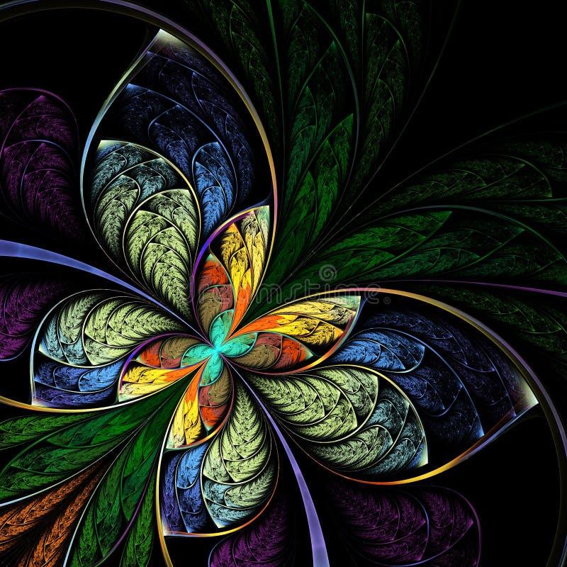 Borboleta do fractal da fantasia, flor, teste padrão floral ilustração royalty free
