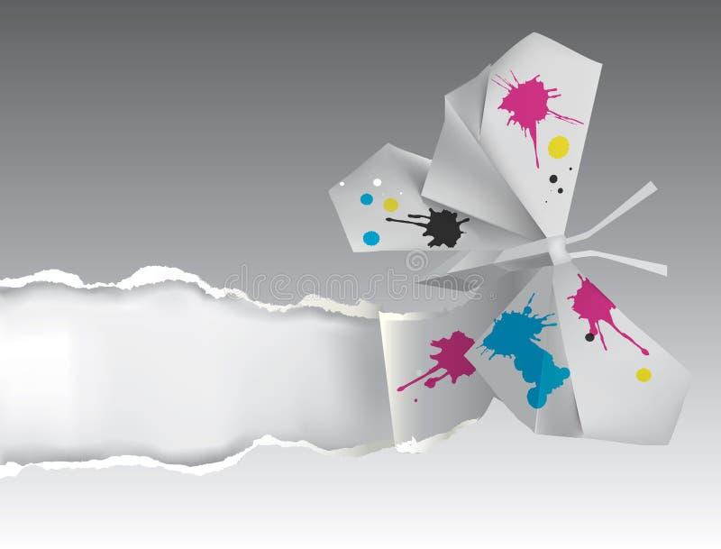 Borboleta do origâmi com a tinta que rasga o papel ilustração do vetor