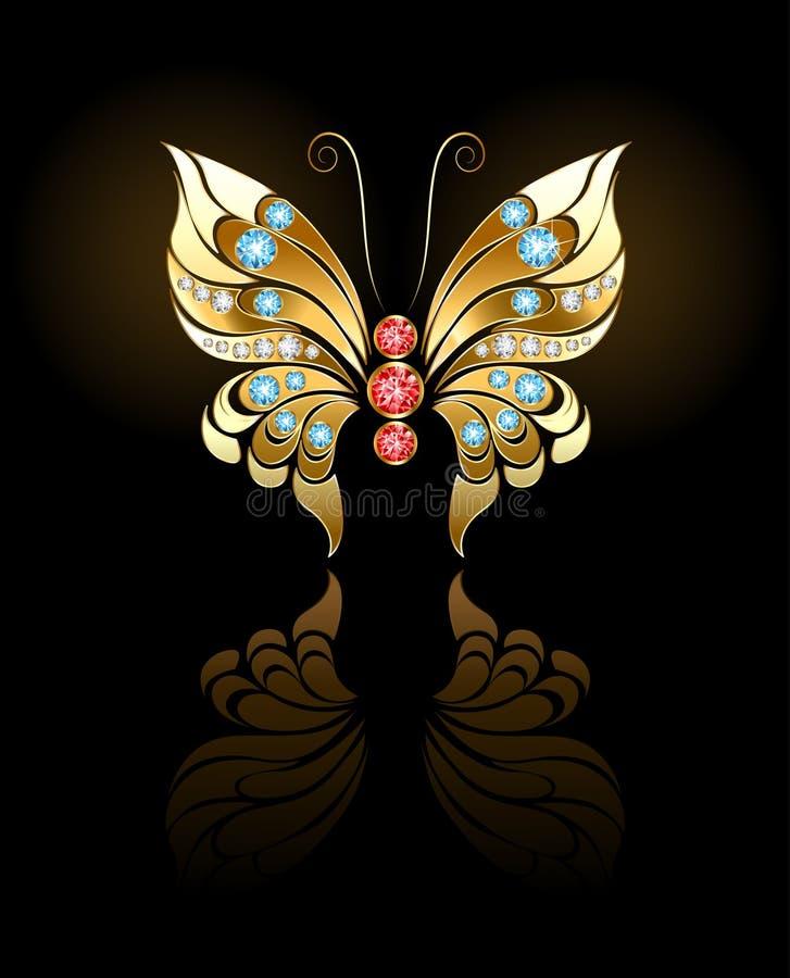 Borboleta do ouro com gemas ilustração royalty free