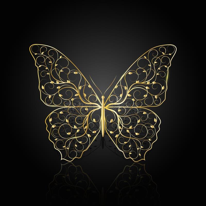 Borboleta do ouro com teste padrão floral foto de stock