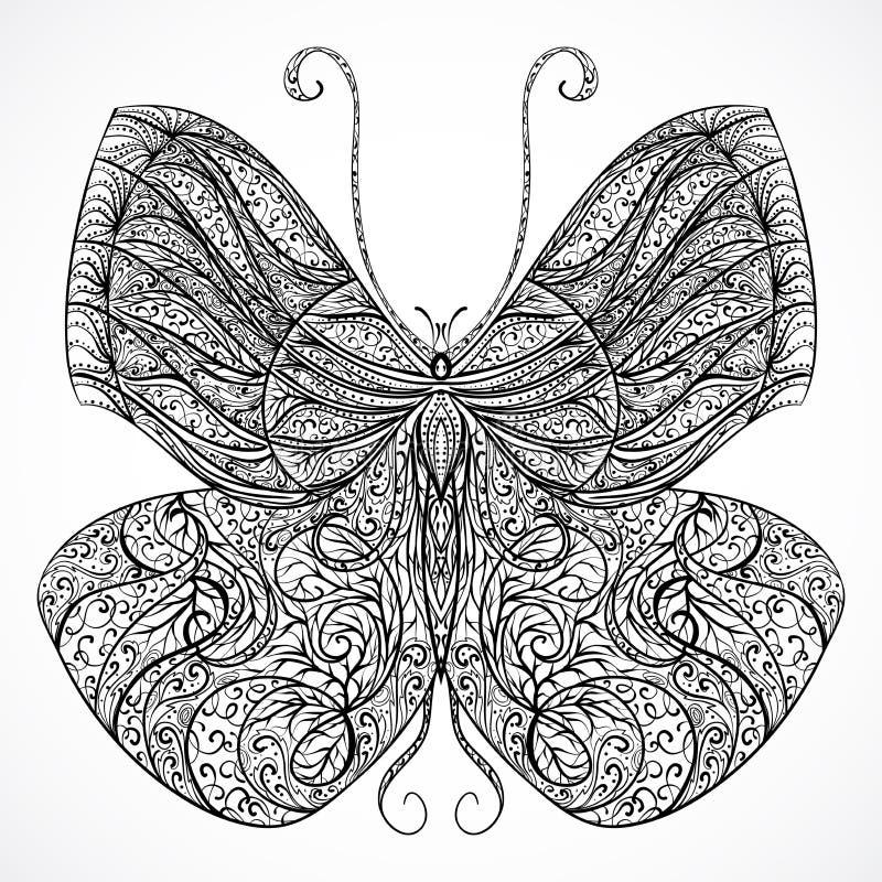 Borboleta do vintage com o ornamento abstrato floral Vetor preto e branco ilustração royalty free
