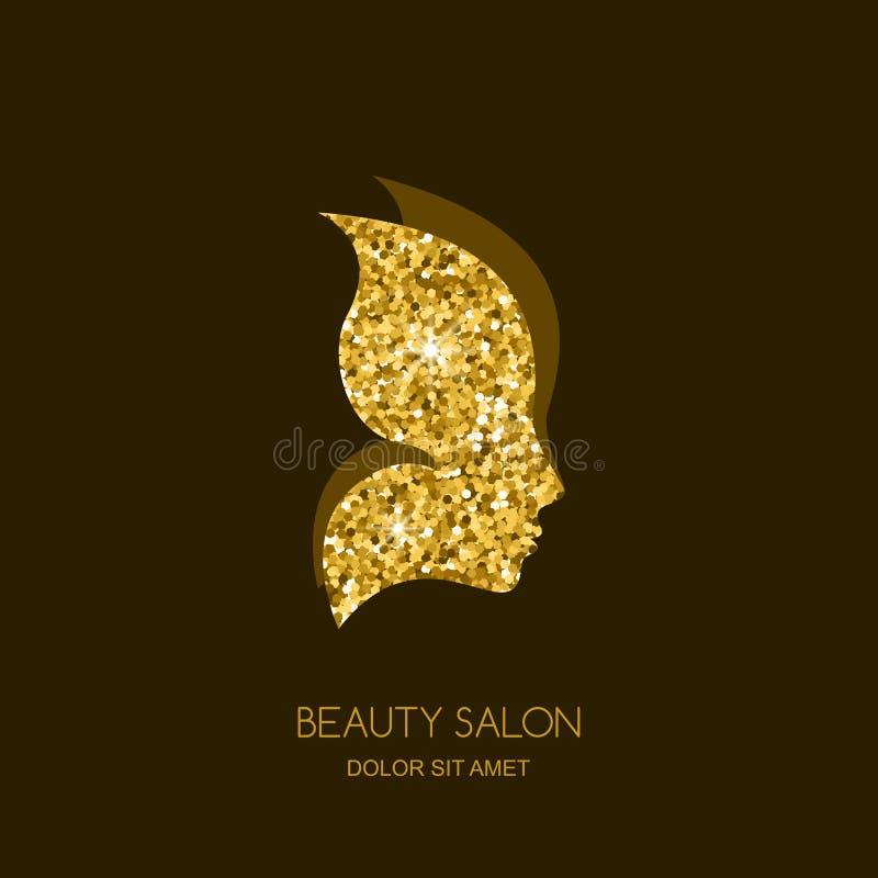 Borboleta dourada As mulheres perfilam com fundo da textura do ouro ilustração do vetor