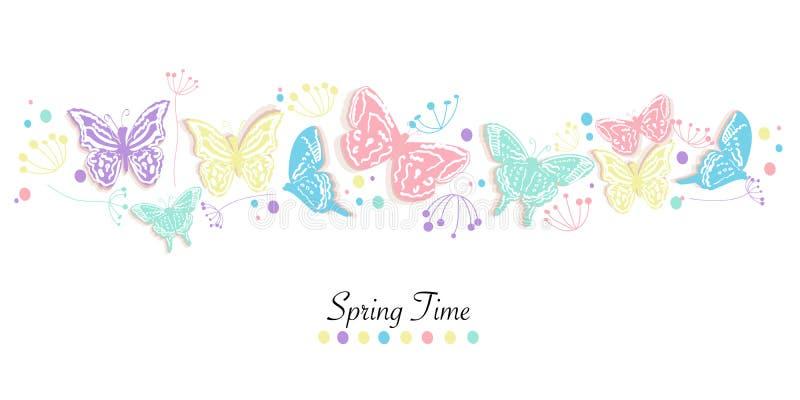 A borboleta e as flores abstraem o fundo do vetor da bandeira do tempo de mola ilustração royalty free