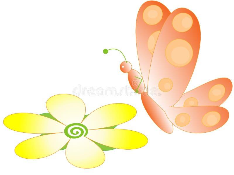Borboleta e flor ilustração do vetor