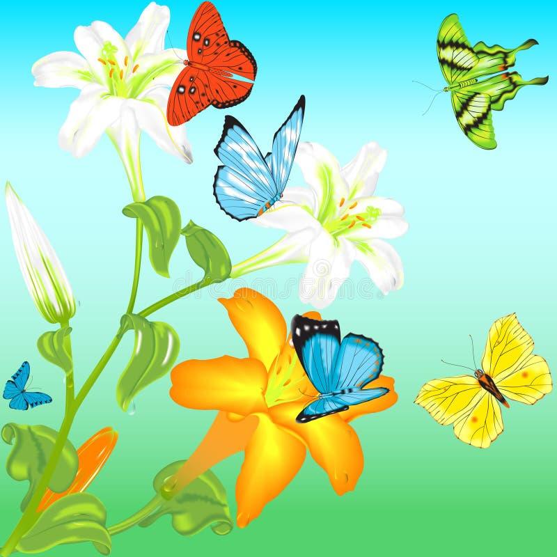 Borboleta e flor ilustração royalty free