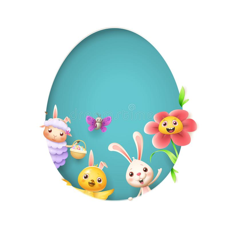 Borboleta e flor da galinha do coelho dos carneiros dos amigos da Páscoa que espreitam atrás do furo da forma do ovo no fundo azu ilustração stock