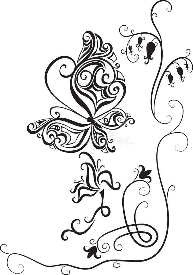 Borboleta e flores ilustração do vetor