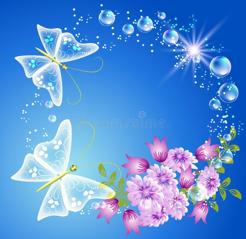 Borboleta e flores ilustração stock