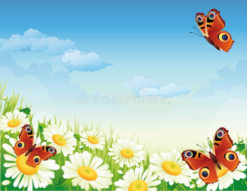 Borboleta e flores ilustração royalty free