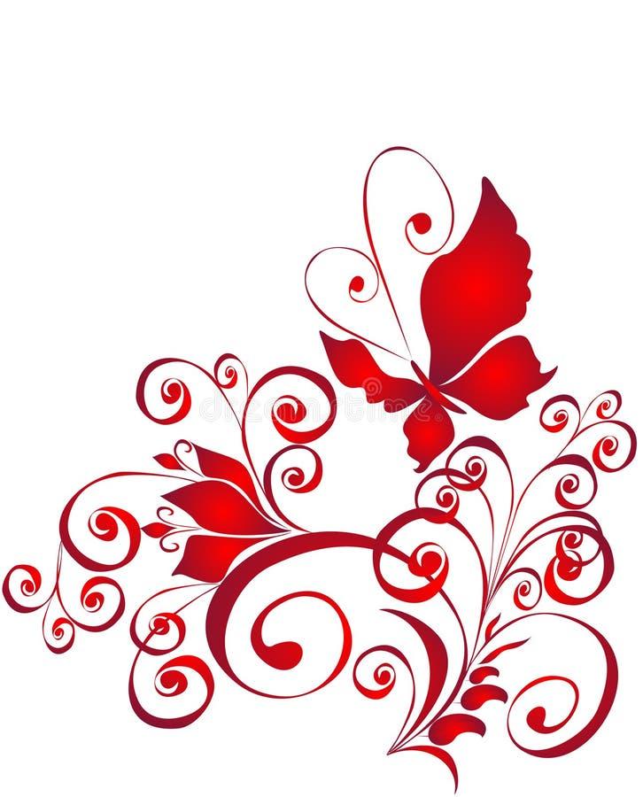 Borboleta e ornamento do florel, elemento para o projeto ilustração stock